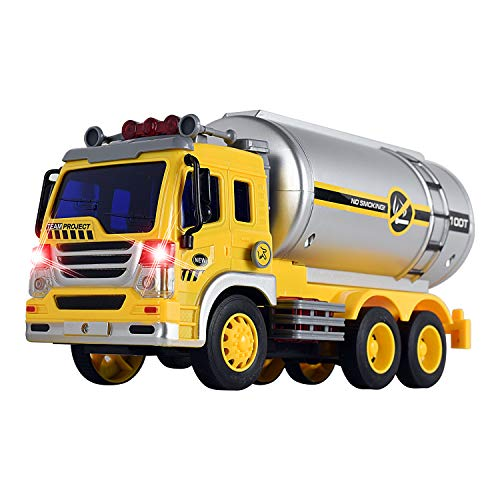 WolVolk Friction Powered Oil Tanker Truck Toy with Lights and Sounds for Kids