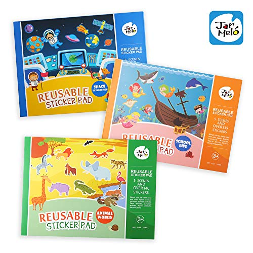 Jar Melo Reusable Sticker Pads Set; Great Assorted: 3 Packs - Animal World; School Life; Space Exploration; Over 405 Stickers; Separated Scenes