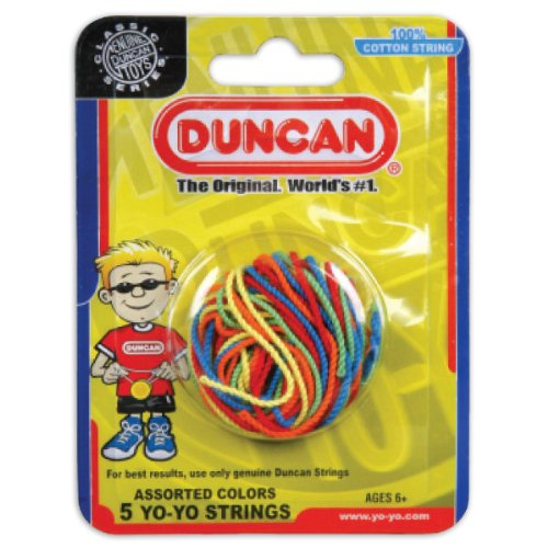 Duncan Toys Yo-Yo String [Assorted Colors] - Pack of 5 Cotton String for Plastic, Metal Yo-Yos