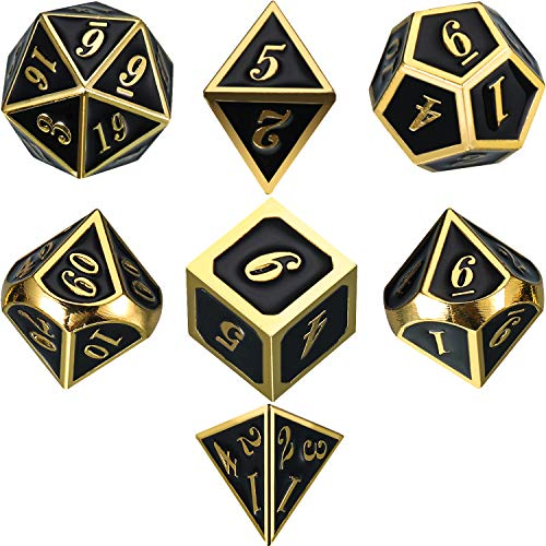 Frienda Zinc Alloy Metal Polyhedral 7-Die Dice Set for Dungeons and Dragons RPG Dice Gaming D&D Math Teaching, d20, d12, 2 Pieces d10 (00-90 and 0-9), d8, d6 and d4 (Shiny Gold and Black)