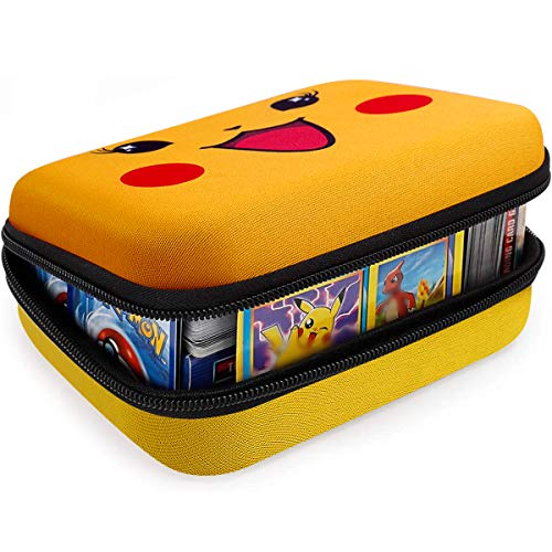 Cards Holder Compatible with PM TCG Card, Phase 10 Card Game, C.A.H.Card Binder Fits Up to 400+ Cards. Cards Storage Box with 2 Removable Dividers (Yellow)