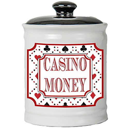 Cottage Creek Casino Gifts Round Ceramic Casino Money Jar/Vegas Casino Lover Gifts Slot Machine Gambling Gifts [White]