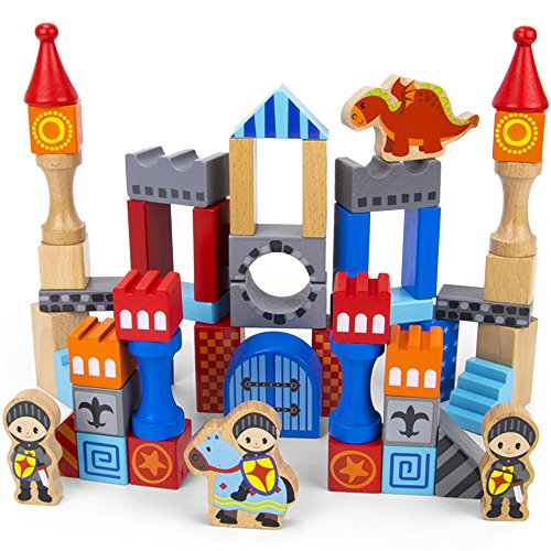 Imagination Generation Heroic Knights Wooden Castle Building Blocks, 50-Piece Medieval Play Toy Set in Storage Drum