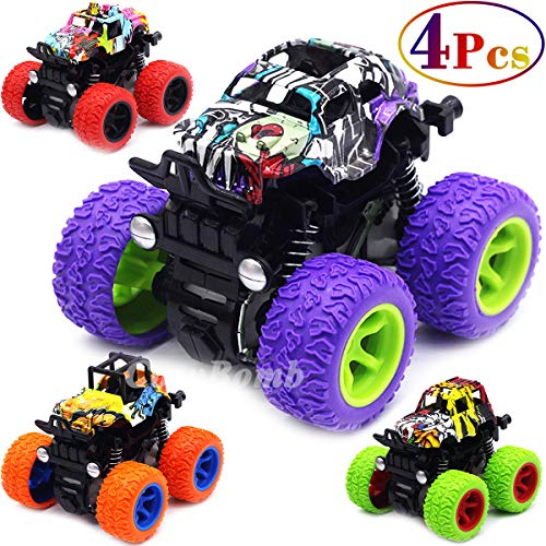 CozyBomB Friction Powered Monster Trucks Toys for Boys - Purple Push and Go Car Vehicles Truck Jam Playset, Inertia Vehicle Cars, Kids Birthday Christmas Party Supplies Gift 3 Years Old - 4 Pack Mini