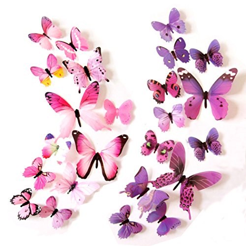 Epy Huts Kids' Wall Sticker Art Decor 3D Lively Butterflies DIY Art Wedding Decor Crafts 24 Pcs,12 Purple,12 Pink