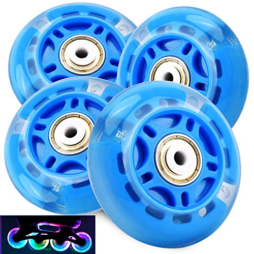 TOBWOLF 4PCS 70mm 82A Light Up Inline Skate Wheels, LED Roller Skate Wheels, LED Flash Flashing Replacement Wheel with ABEC-7 Bearings for Kids & Teens