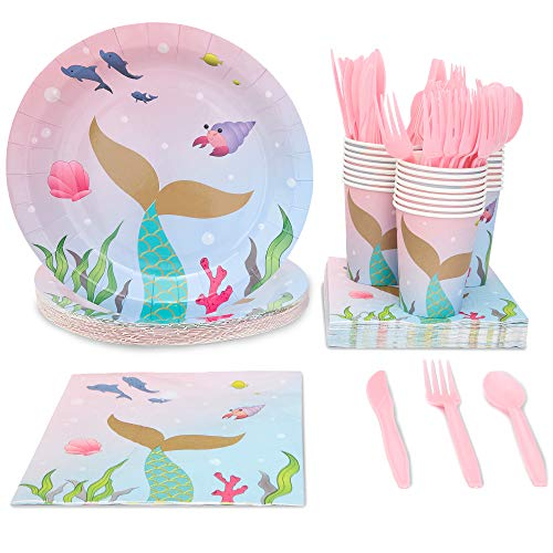 Juvale Mermaid Birthday Party Supplies, Disposable Dinnerware Set (Serves 24, 144 Pieces)