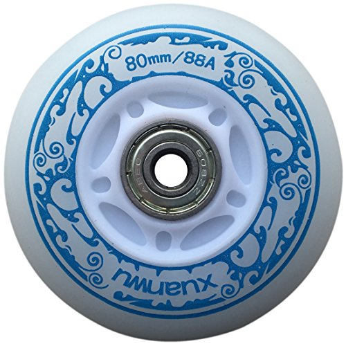 you-beat-you-land Light Up Led Inline Skates Pu Wheels Outdoor and Indoor Rubber Wheels Pack of 4 Blue-70mm