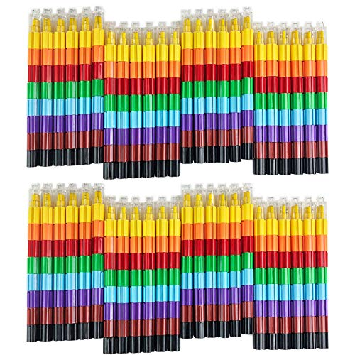 Huji Stacking Buildable 8 Colors Crayons Set, Connect Stack and Build Crayons Sideways and Up, Favorite Toys Kids Party Favors Safe Non-Toxic, Easy to Hold (Building-Blocks, 48)