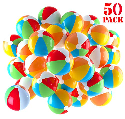 Inflatable Beach Balls 5 inch for The Pool, Beach, Summer Parties, Gifts and Decorations | 50 Pack Mini Blow up Rainbow Color Beach Balls (50 Balls)