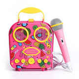 HowQeen Karaoke Machine for Kids, Bluetooth Rechargeable Kids Handbag Microphone Music Player Kids Toy Children Microphone with MP3 Player Loudspeaker Birthday Gift for Girls(Pink)