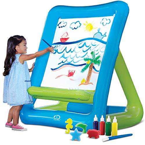 Discovery Kids Inflatable Art Easel with Paint for Young Artists, Sponge Stamps and Brush, Easy Clean/Washable Painting Set, Indoor/Outdoor, Arts and Crafts Station for Birthday Party, 50