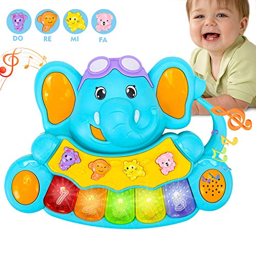 HOMOFY Baby Toys 6-12 Months Multifunctional Early Educational Baby Elephant Keyboard Piano Toy with Lights Animal Sounds Music Gifts Toys for 1 Year Old Girls Boys Kids & Toddler