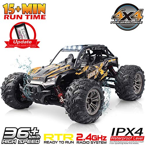 Hosim High Speed 36km/h 4WD 2.4Ghz Remote Control Truck 9137, 1:16 Scale Radio Conrtolled Off-Road RC Car Electronic Monster Truck R/C RTR Hobby Cross-Country Car Buggy (Orange)