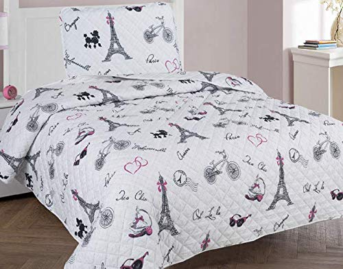 Golden Linens Twin Size 2 Pieces Printed Bedspread Coverlet Multi Colors White Black Pink Paris Eiffel Tower Design Girls/Kids/Teens # Paris Quilt