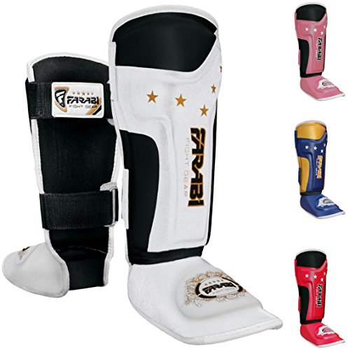 FARABI Kids shin Pads shin Instep Junior Muay Thai MMA shin Pads shin Instep Leg and Foot Protector … (White/Black)