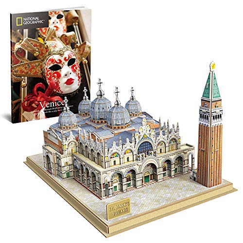 CubicFun 3D Italy Puzzles Models Architecture Kits for Adults and Kids,with National Geographic Booklet for Venice St.Mark's Square