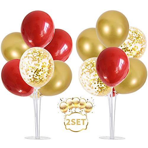 Table Balloons Stand Kit 2 Set with 14 Sticks, 14 Cups, 2 Base, 16 Balloons for Wedding Birthday Party Decorations(red+gold))
