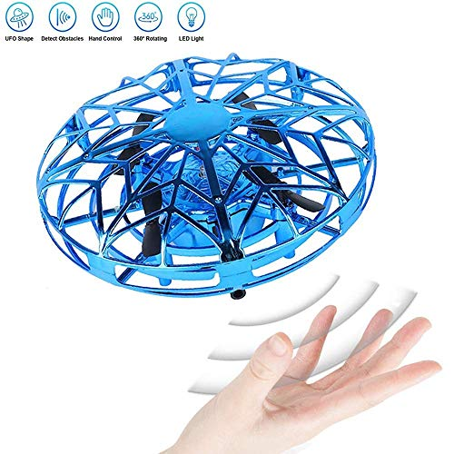 JCT UFO Flying Ball Toys Mini Drone for 4-10 Years Kids Hand Controlled Flying Toys, Infrared Induction Helicopter Ball with360� Rotating and LED Lights for Children Boys Girls Kids Gifts (Blue)