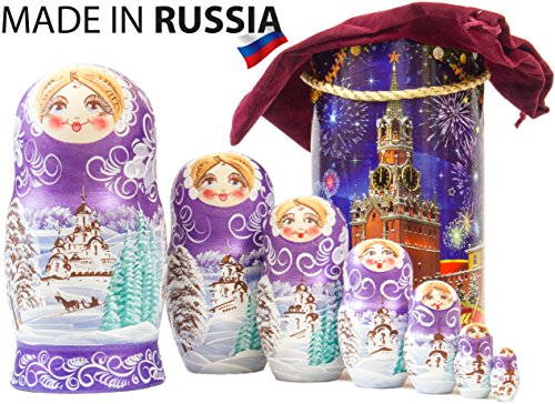 Russian Nesting Doll - Winter`s Tale - Hand Painted in Russia - Moscow Kremlin Gift Box - Wooden Decoration Gift Doll - Traditional Matryoshka Babushka (8`` (7 Dolls in 1), Purple)