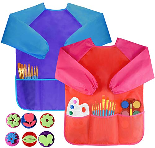 Bassion Pack of 2 Children's Art Smocks, Waterproof Artists Painting Aprons Long Sleeve with 3 Pockets for Age 2-6 Years 2 Pack(6 Brushes)