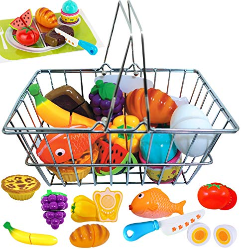 Stainless Steel Kids Toy Shopping Grocery Basket - with Pretend Play Food Groups - Cut-able Toy Kitchen Food - Toy Shopping Cart Set for Toddlers Kids Boys & Girls