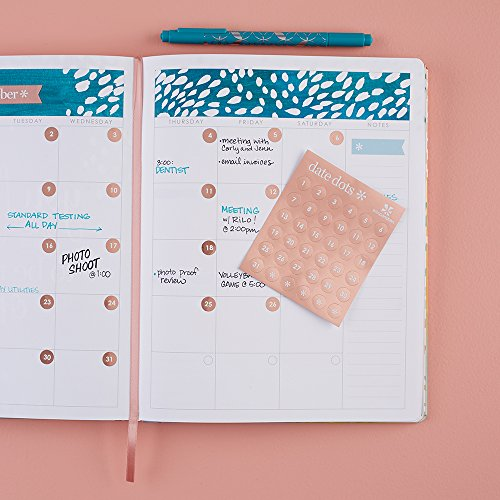 Erin Condren Designer Sticker Sheets - Metallic Rose Gold Date Dots Stickers Includes 12 Sticker Sheets, 432 Stickers Total. Cute Stickers for Customizing Planners, Notebooks, and More.