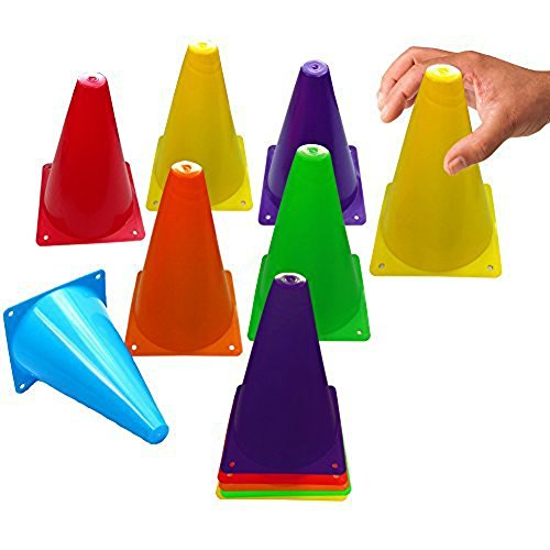 Toy Cubby Colorful Flexible Plastic Activity Play Traffic Cones Set - 6 Pcs