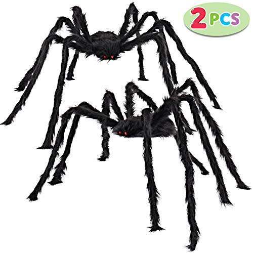 JOYIN 2 Pack 5 Ft. Halloween Outdoor Decorations Hairy Spider (Black)