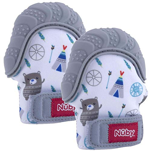 Nuby Soothing Teething Mitten with Hygienic Travel Bag, Grey, 2 Count