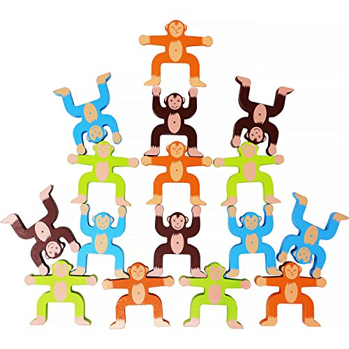 Toyssa Wooden Stacking Games Monkeys Interlock Toys Balancing Blocks Games Toddler Educational Toys for 3 4 5 6 Years Old Kids Infants Adults 16 Pieces