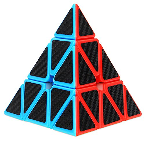 Dreampark Pyramid Speed Cube, Triangle Carbon Fiber Sticker Twisty Puzzle for Kids' Intelligence Development, Speed Cubing Beginners or Puzzle Enthusiasts