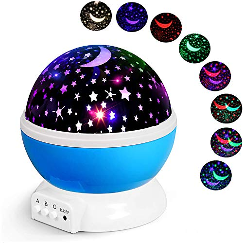 Alenbrathy Night Light Lamp, Star Projector Romantic LED Night Light 360 Degree Rotation 4 LED Bulbs 9 Light Color Changing with USB Cable for Birthday,Parties,Kids Bedroom Or Christmas Gift.(Blue)