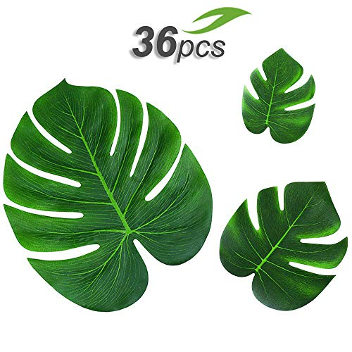 Gooidea 36pcs Tropical Palm Leaves Hawaiian Luau Party Decorations Artificial Leaves Garland Decor Impress Your Celebrations