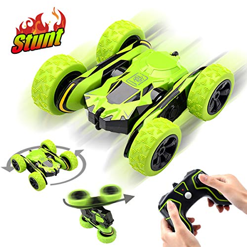 Pussan Toys for 5-12 Year Old Boys Remote Control Car for Kids Stunt RC Cars 2.4 GHz Monster Trucks RC Crawler Off Road 360 Degree Rotation Summer Beach Toy Gifts for Children Green