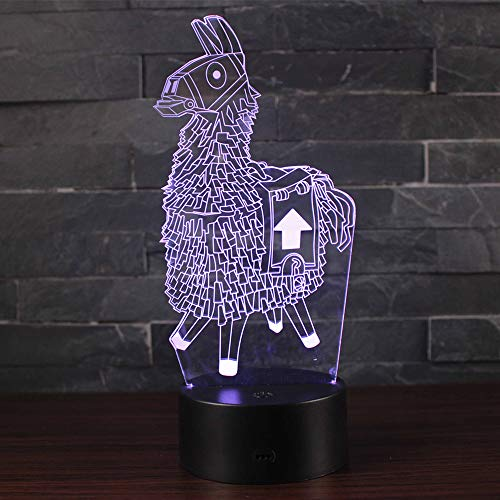Doremy 3D Illusion LED Night Light Table Desk Lamp 7 Colors Gradual Changing Touch with USB Cable for Home Decoration or Children's Gifts (Alpaca)