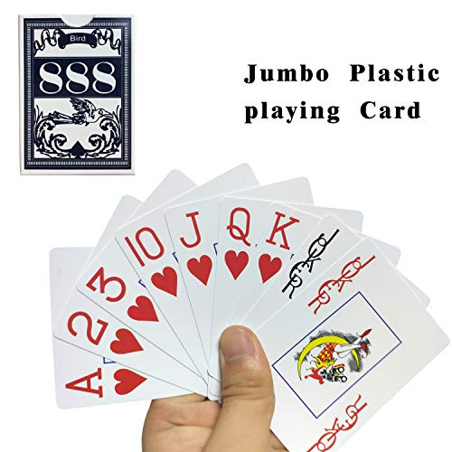 Neasyth Waterproof Plastic Playing Cards,Jumbo Index, for Texas Hold'em, Blackjack, Pinochle, Euchre, for Pool Beach Water Games