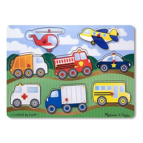 Melissa & Doug Vehicles Wooden Peg Puzzle (8 pieces)