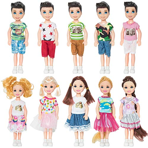 NEWITIN 10 Pieces 5 Inch Mini Doll with Doll Clothes Party Grown Outfits Doll Accessories for Kids