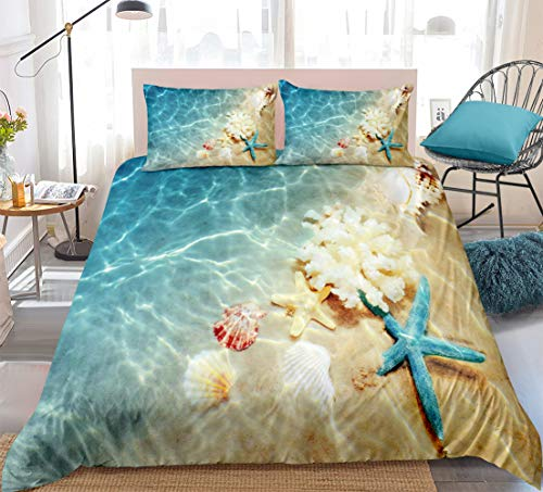 Ocean Duvet Cover Set Blue Beach Bedding Coastal Nature Theme Pattern Boys Girls Bedding Sets Twin 1 Duvet Cover 1 Pillowcase (Beach, Twin)