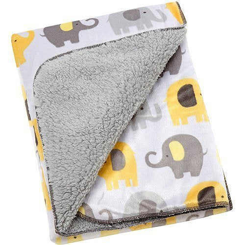 Baby Boy or Girl Soft Yellow and Gray Unisex Velboa Elephant Blanket
