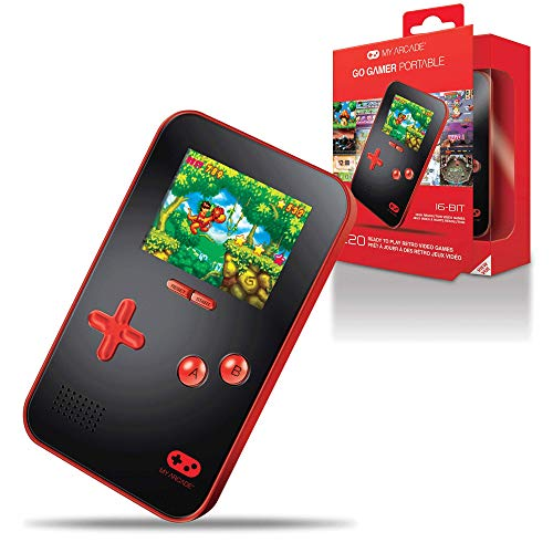 My Arcade Go Gamer Portable - Handheld Gaming System - 220 Retro Style Games - 16 Bit High Resolution - Battery Powered - Full Color Display - Volume Buttons - Headphone Jack - Red