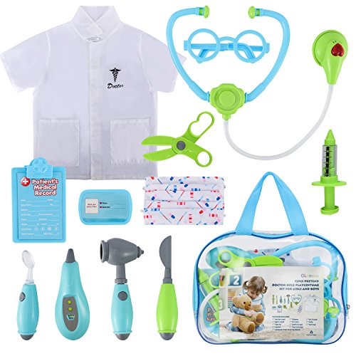 Glonova Toddler Doctor Kit for Kids, 12 Pcs Dotor Pretend Play Toys with Roleplay Doctor Play Set Costume, Dress up Doctor Accessories, and Carry Bag