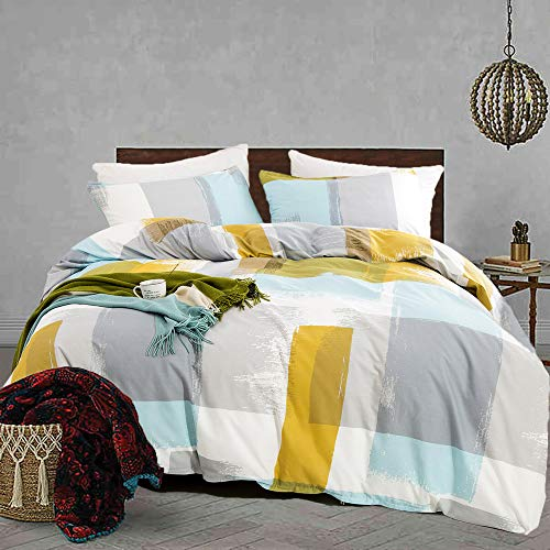 Jumeey Abstract Duvet Cover Set Twin Art Plaid Grid Bedding Set 100% Cotton 3 Piece Modern Chic Blue Yellow Gray Bufflao Print Comforter Cover with Pillow Shams Women Men Bedding Collection