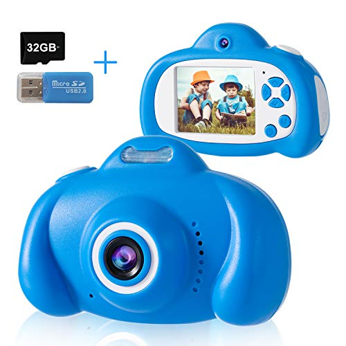Selfie Kids Camera, DDAD Digital Video Camera Gifts for Boys and Girls, 2 Lens 10MP 1080P Toddler Video Recorder Rechargeable and Shockproof Camcorder for Children (32GB SD Card Included)