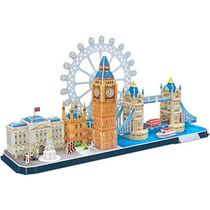 CubicFun 3D Puzzle for Adults London Cityline Architecture Building Model Kits Collection Toys, Souvenir and Room Decor Gifts for Teens and Kids, Tower Bridge Big Ben Buckingham Palace 107 Pieces