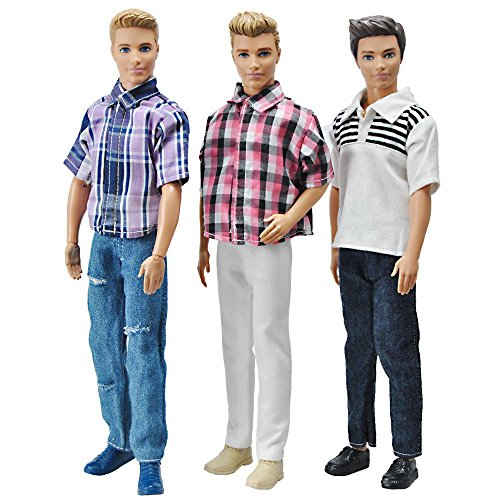 E-TING 3 Sets Casual Wear Plaid Doll Clothes Jacket Pants Outfits for 12 Inches boy Dolls
