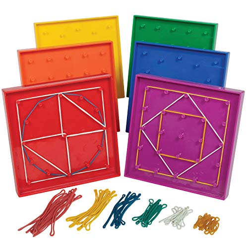Learning Advantage Double-Sided Geoboard Set - 5 x 5 Grid/12 Pin Circular Array - Set of 6 with Rubber Bands - Geometry Math Manipulative - Teach Angles and Symmetry