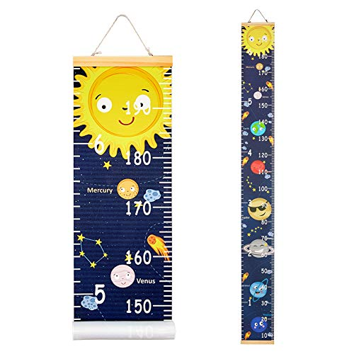 Beinou Baby Growth Chart Ruler for Kids Wood Frame Height Measure Chart 7.9'' x 79'' Canvas Hanging Height Growth Chart for Baby Nursery Decoration Baby Shower Gift (Solar Planet)