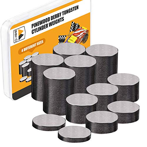 BBTO 12 Pieces, 3.625 oz. Tungsten Weights 3/8 Inch Incremental Cylinders Car Incremental Weights Compatible with Pinewood Car Derby Weights